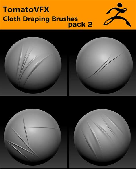 zbrush tutorial coloring tomatovfx cloth draping brushes pack 2 for zbrush by