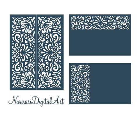 Card Template Svg File by Svg Dxf Laser Cutting Files Set Wedding Invitation Card