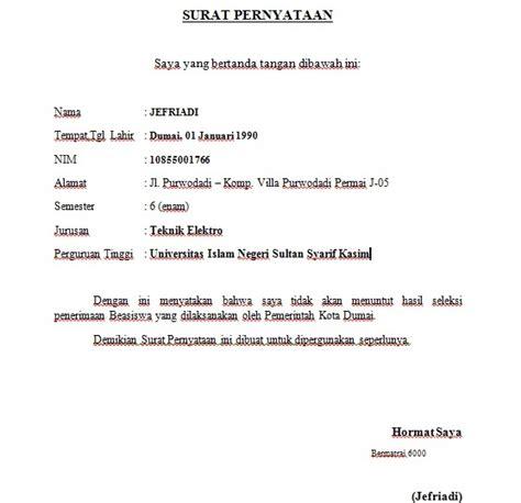 contoh surat pernyataan jefriadi azwar s
