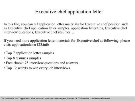 application letter for executive chef executive chef application letter
