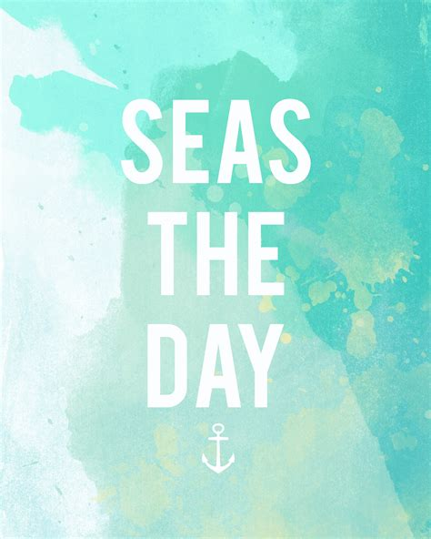 Printable Beach Quotes | quot seas quot the day free summer printable creatively
