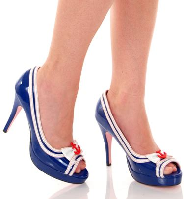sailor high heels blue patent high heeled open toed sailor shoes