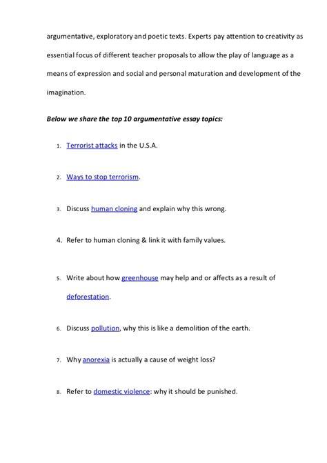 Top Argumentative Essay Topics by Top 10 Argumentative Essay Topics