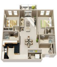 2 Bedroom Apartment Floor Plan 50 3d Floor Plans Lay Out Designs For 2 Bedroom House Or