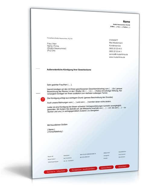 Muster Kündigung Wohnung Durch Vermieter Fristlose K 252 Ndigung Gewerbemietvertrag Durch Vermieter