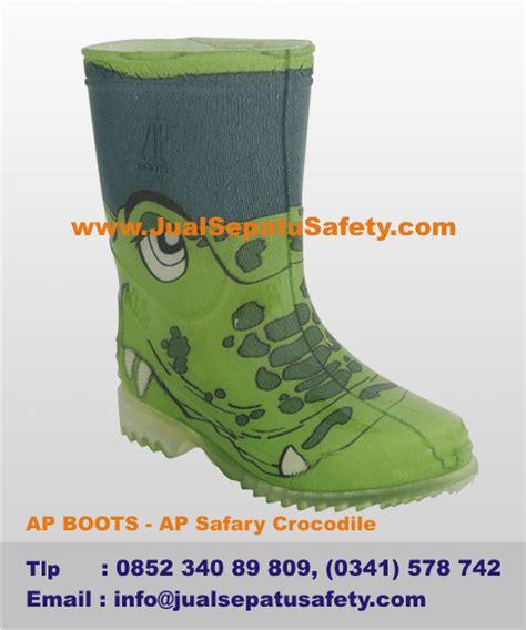 Sepatu Ap Boot Anak harga sepatu boots anak gambar buaya warna hijau asli karet jualsepatusafety