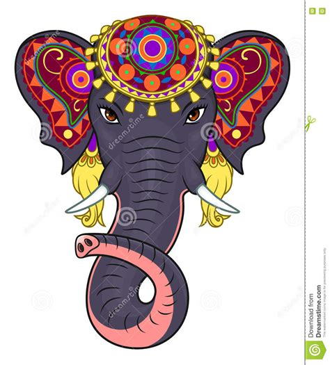 indian elephant face stock vector illustration of jewelry