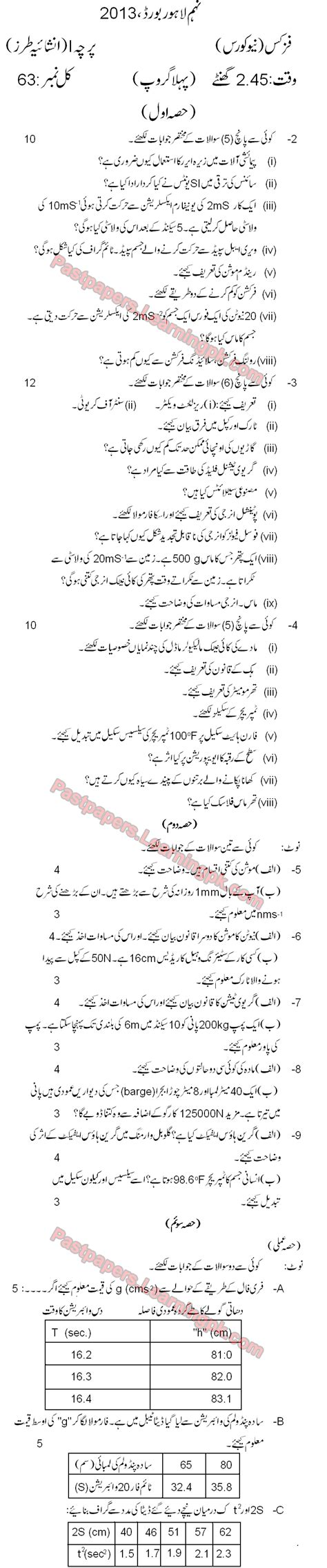 paper pattern lahore board 8th class 8th class math model paper 2013 8th class guess papers