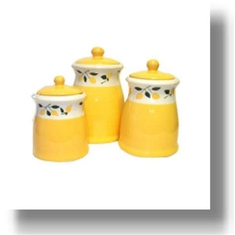 Yellow Kitchen Canisters Cheerful Lemon Canisters Awesome Teapots And Cookware