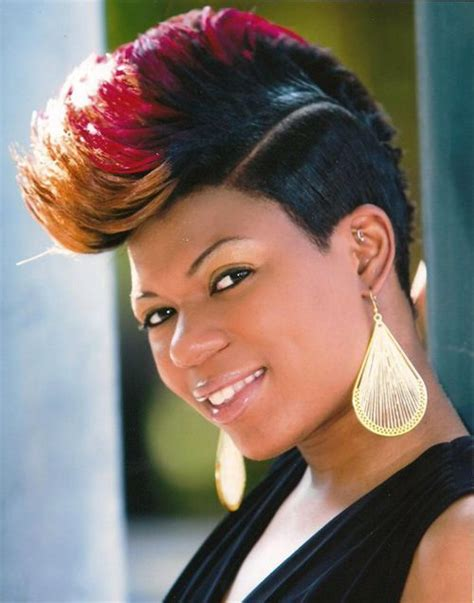 thick mohawk hairstyles stunning short mohawk hairstyles with three color black