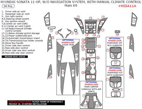 free download parts manuals 2001 hyundai sonata navigation system 2011 hyundai sonata main interior dash trim kit 34 pcs