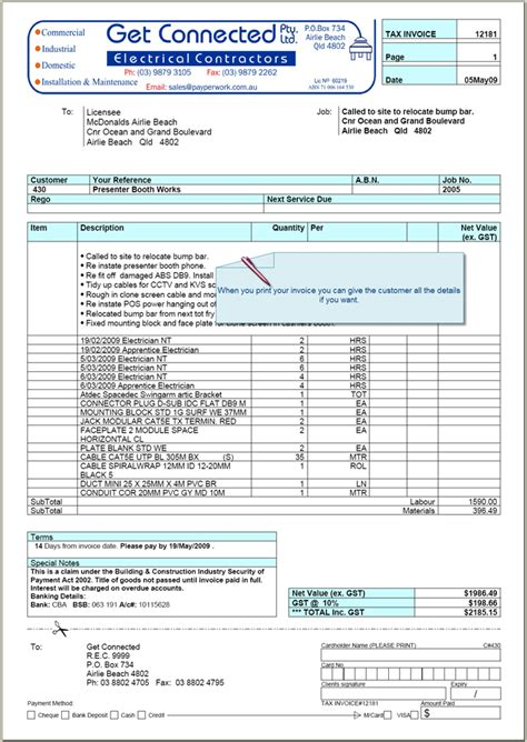 electrical invoice template electrical invoice template