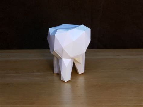 Origami Teeth - facetted molar tooth papercraft molar