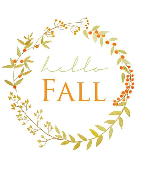 fall leaves garland printable free fall berry watercolor wreath printable wreaths
