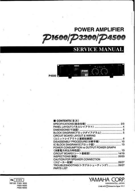 Yamaha P1600 P3200 P4500 Complete Service Manual