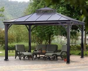 10 X 12 Hardtop Metal Steel Roof Outdoor Patio Gazebo by Black 10 X 12 Hardtop Metal Steel Roof Gazebo Aluminum
