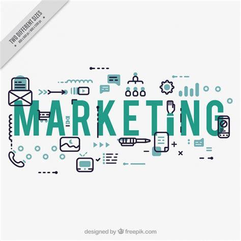 marketing background marketing background with icons in flat design vector
