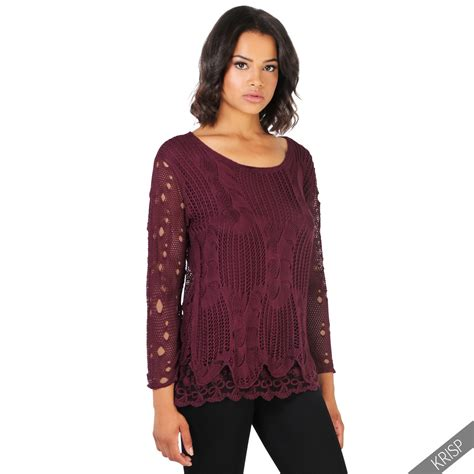 Knitted Blouse womens summer retro crochet knit casual jumper frilled lace hem top blouse ebay