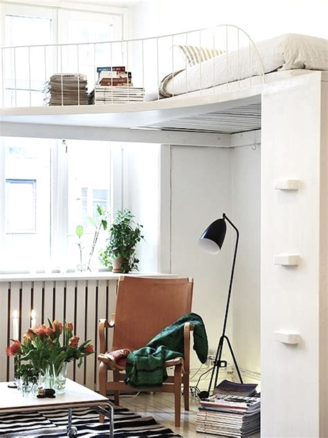 small house with loft bedroom mixing work with pleasure loft beds with desks underneath