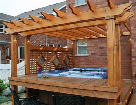hot tub with deck pergola backyard dreams pinterest