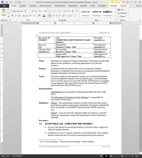 computer usage policy template company usage policy use policy template