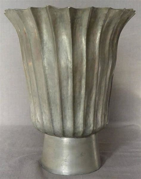 Lead Vase by Vintage Fluted Lead Vase On Footed Base For Sale At 1stdibs