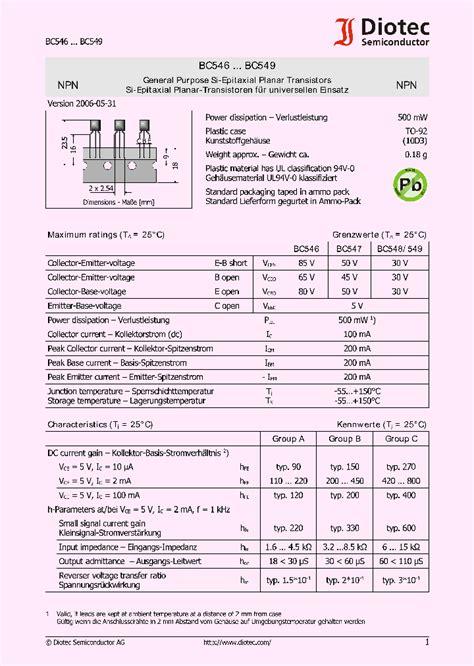 transistor bc547 pdf bc547 4112574 pdf datasheet ic on line