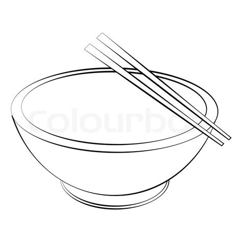 bowl of rice black white line art tatoo tattoo black outline vector bowl and chopsticks on white