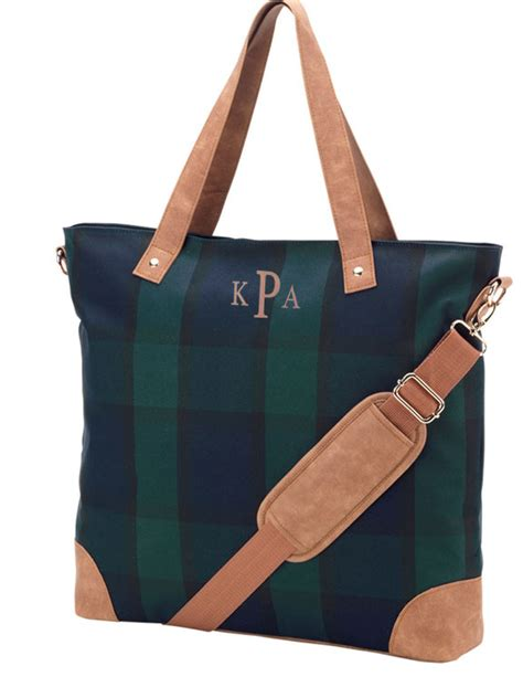 plaid satchel tote bag monogram