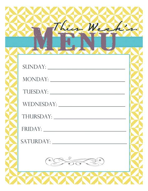 printable menu templates blank weekly menu templates printables calendar template