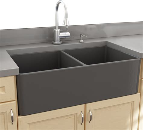 grey kitchen sink nantucket sinks 33 double bowl gray fireclay farmhouse