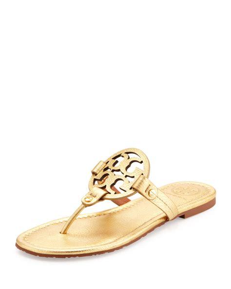 gold burch sandals burch miller metallic logo sandal in gold lyst