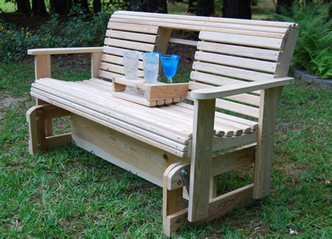 ft cypress wood wooden porch yard bench freestanding