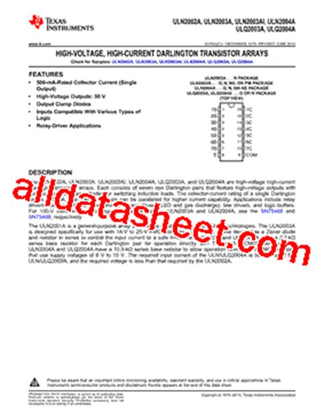 transistor uln2003an datasheet ulq2004a datasheet pdf instruments