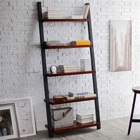 leaning ladder bookshelf plans for home office