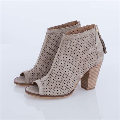 laser cut peep toe ankle boot in beige