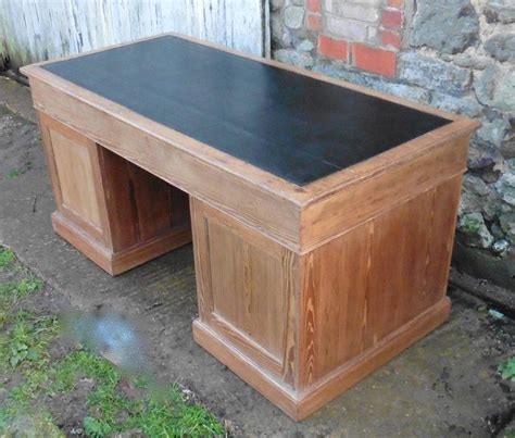 Pitch Desk by Large Pitch Pine Desk Leather Top Barristers