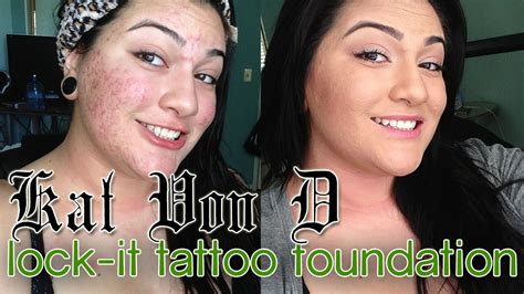 kat von d lock it tattoo foundation demo review on acne