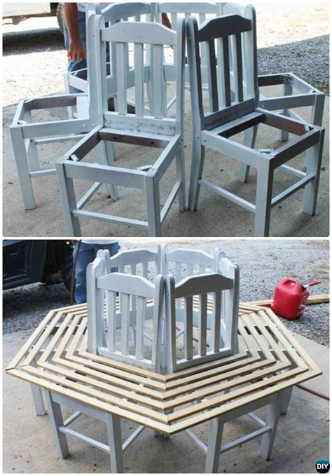 tree bench made from chairs diy repurposed chair craft ideas projects picture