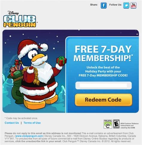 free club penguin membership free 7 day memberships from club penguin club penguin