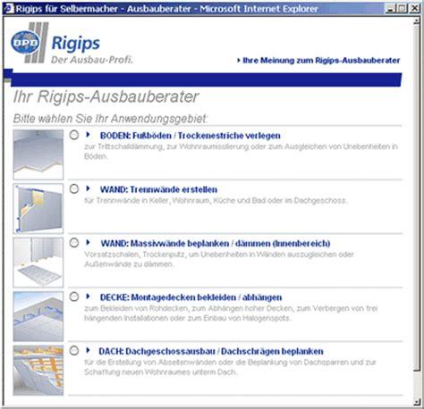 Trockenbau Decke Material Berechnen by Rigips Ausbauberater F 252 R Selbermacher Im