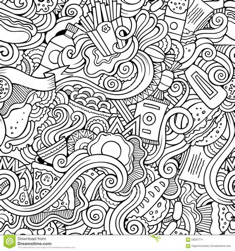 abstract pattern doodles seamless doodles abstract fast food pattern stock vector