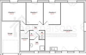 plan plain pied 3 chambres 1 bureau maison maison