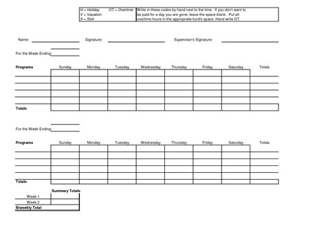free printable time sheets templates 7 best images of free printable bi weekly timesheet