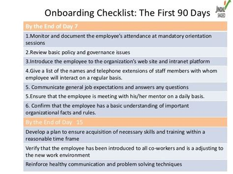 onboarding template sle onboarding checklist the 90 daysby the end of day