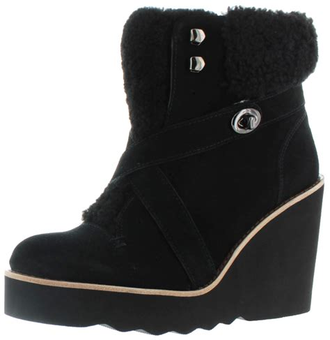coach kenna s shearling sheepskin wedge booties snow