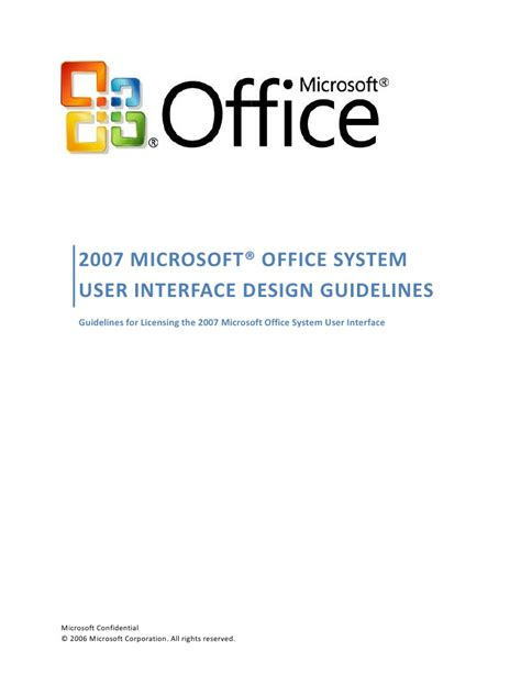 design guidelines user interface 2007 office ui design guidelines license