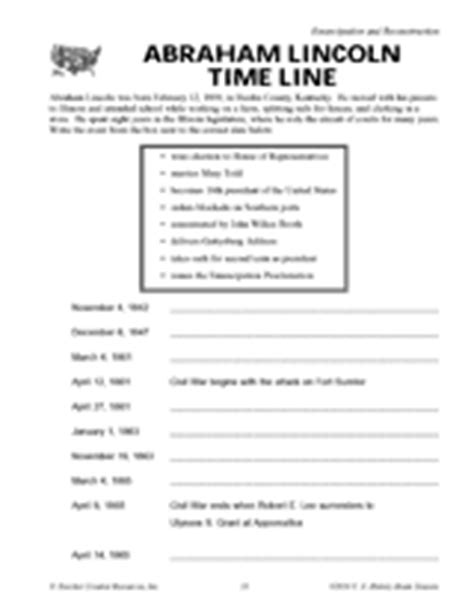 biography of abraham lincoln worksheet answers abraham lincoln time line teachervision