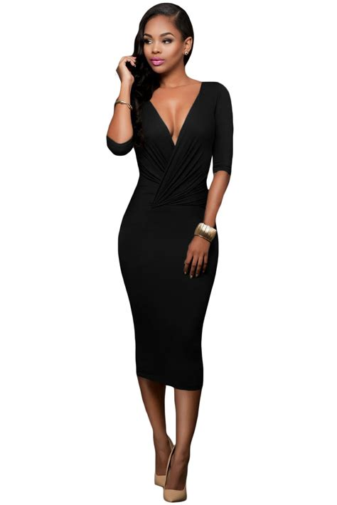 Home Decoration Christmas by Wholesale Black Two Way Bodycon Midi Dress