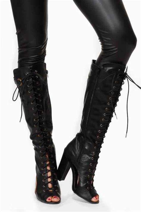 motorcycle lace up knee high boots cut out chunky
